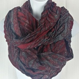 Red & Gray /Metallic Silver Glitter Infinity Scarf